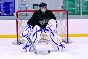 Tyler Stauffer photo: Former team manager senior Ashley Harper made the Mercyhurst women's hockey team as the third goalie.